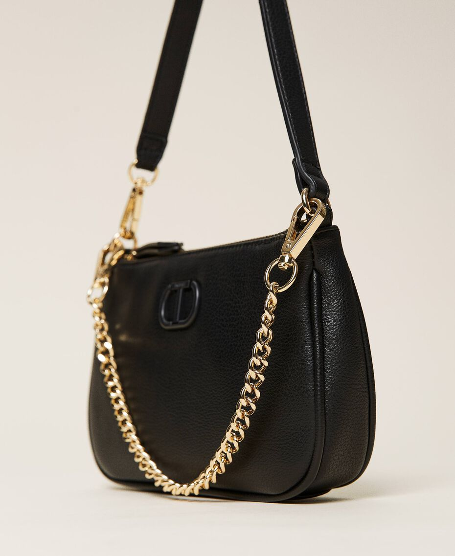 Shoulder bag with chain and logo Black Woman 212TB7050-02