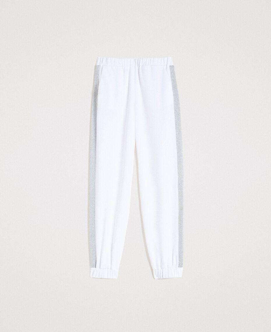 Pantalones de jogging con paneles de lúrex Blanco Mujer 191LL25KK-0S