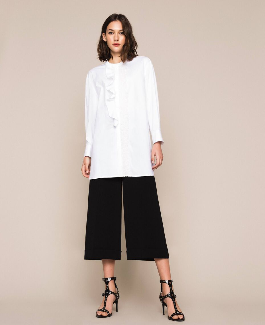 Poplin shirt with frills White Woman 201TP2261-01