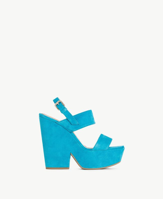 TWINSET Sandales daim Bleu «Gentiane» Femme CS8TCC-01