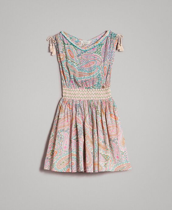 Muslin dress with paisley print