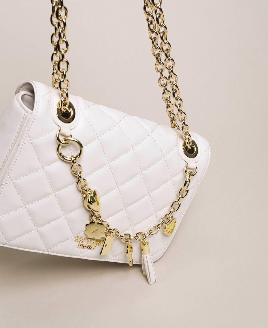Faux leather shoulder bag with charms Quartz Pink Woman 201MA7043-02