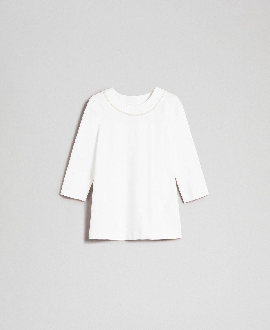Blusa con ricamo di perle Bianco Neve Donna 192TP2080-0S