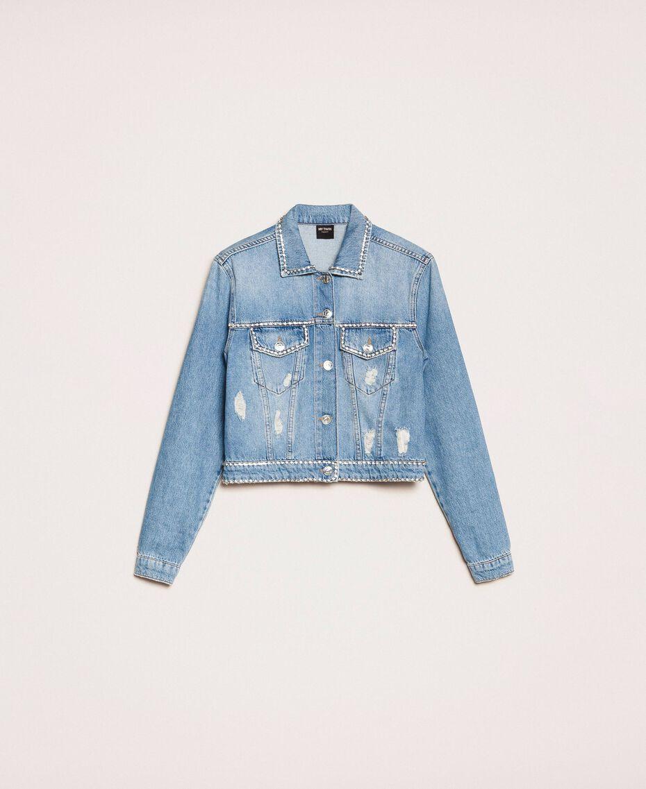 Blouson en jean avec strass Bleu Denim Femme 201MP2271-0S