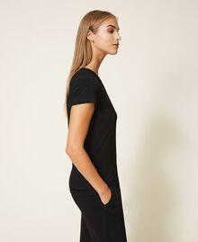T-shirt avec logo strassé Noir Femme 202LL2CRR-03