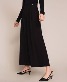 Crêpe de Chine high waist trousers Black Woman 201MP2110-03