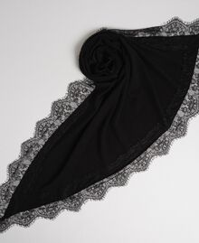 Wool blend and cashmere kefiah with lace Black Woman 192TA4407-01