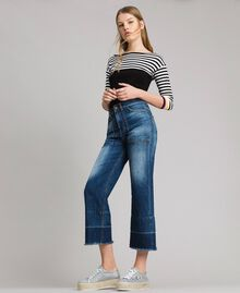 Jean fatigue à taille haute Bleu Denim Femme 191MP2474-05