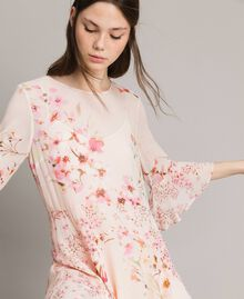 """Georgette-Maxikleid mit Blumenmuster Motiv """"Blossom / Peach Mix"""" Pink Frau 191TP2718-04"""