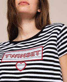 Striped terry cloth T-shirt with logo Two-tone Black / Optical White Woman 201LM2LSS-04