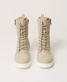 Botas militares de lona con logotipo Beige Incienso Mujer 211TCT070-05