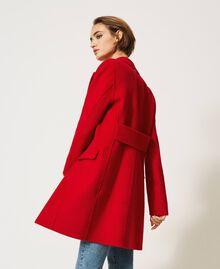 Mantel aus zweilagigem Tuch Kirsch Rot Frau 202TP2033-04