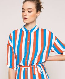 "Long striped shirt dress Multicolour ""Bay"" Blue / ""Choco"" Brown / Optical White Woman 201LM2FBB-04"