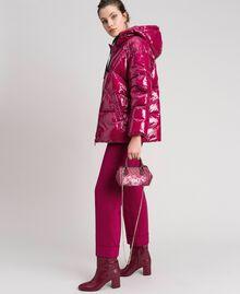 Mini sac bowling en similicuir imprimé Imprimé Fleurs Papillon Rouge Betterave Femme 192TA7018-0S