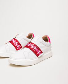 "Sneakers aus Leder mit Logoband Multicolor Optisches Weiß / ""Geranium""-Rot / ""Jazz""-Rosa Frau 201TCT064-01"