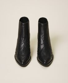 Cowboystiefelette mit Perlen Schwarz Frau 202MCT026-05