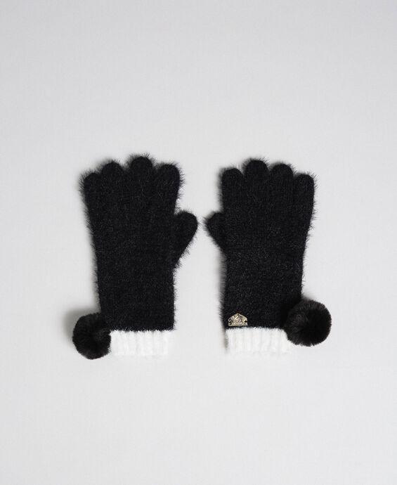 Fur effect pompom gloves