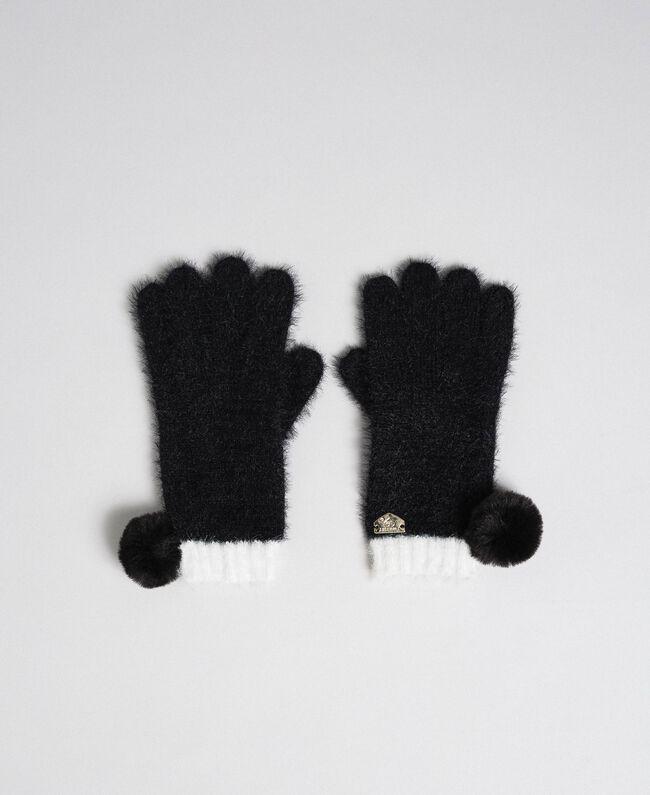 Gants effet fourrure avec pompons Noir / Ivoire Femme 192LI4ZPP-01