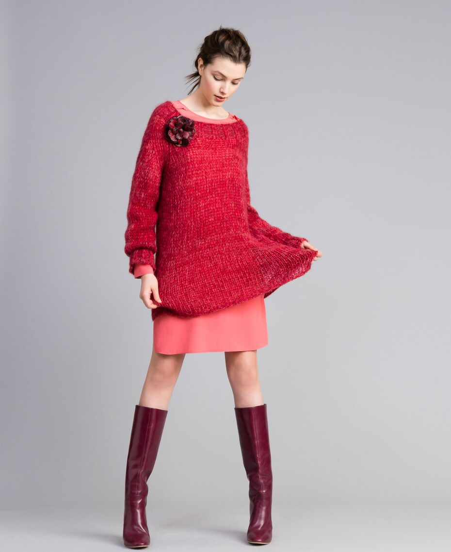 """Maxi mohair jumper """"Poppy"""" Red Mouliné Woman PA838A-0T"""