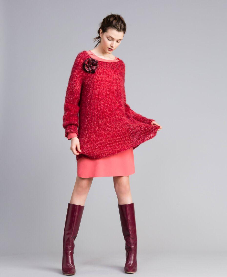 Maxi pull en mohair Rouge Coquelicot Mouliné Femme PA838A-0T