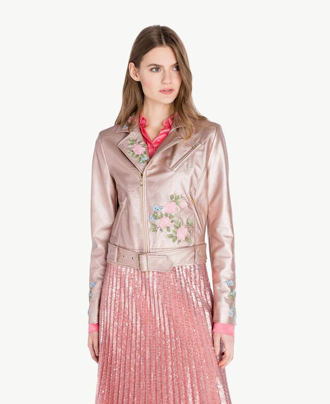 "Embroidered biker jacket Metallic ""Hydrangea"" Pink Woman PS82Q1-01"