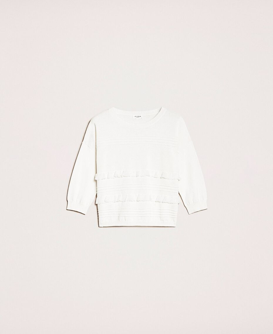 Jumper with stitching and frills White Woman 201ST3063-0S