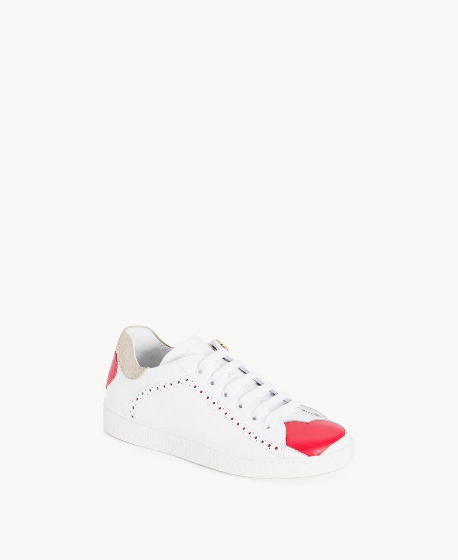 Baskets cœurs Bicolore Blanc Papyrus / Rouge Grenadier Enfant HS88C1-02