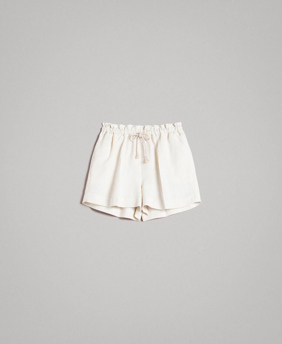 Linen blend shorts White Snow Woman 191TP2205-0S