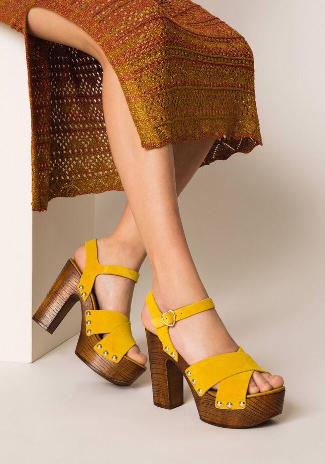 Suede clog sandals