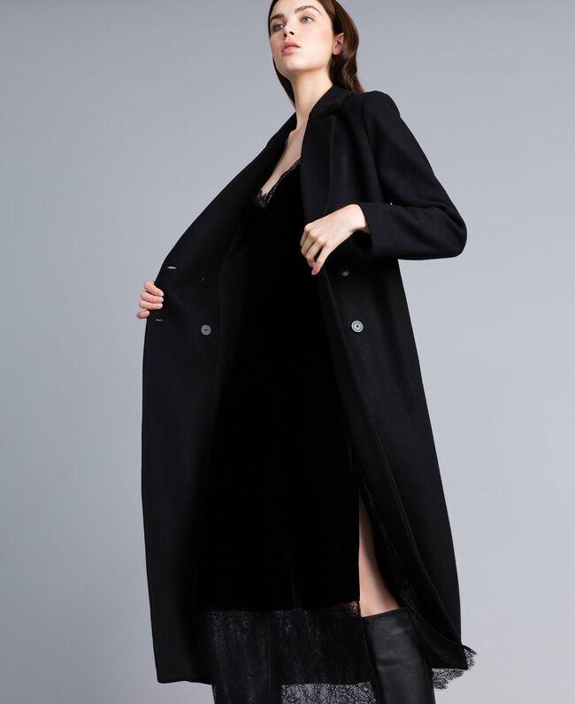 Manteau long croisé en drap Noir Femme TA821L-04