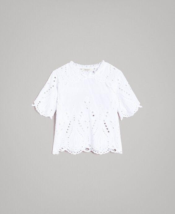 Musselin-Bluse mit Lochstickerei-Verzierung