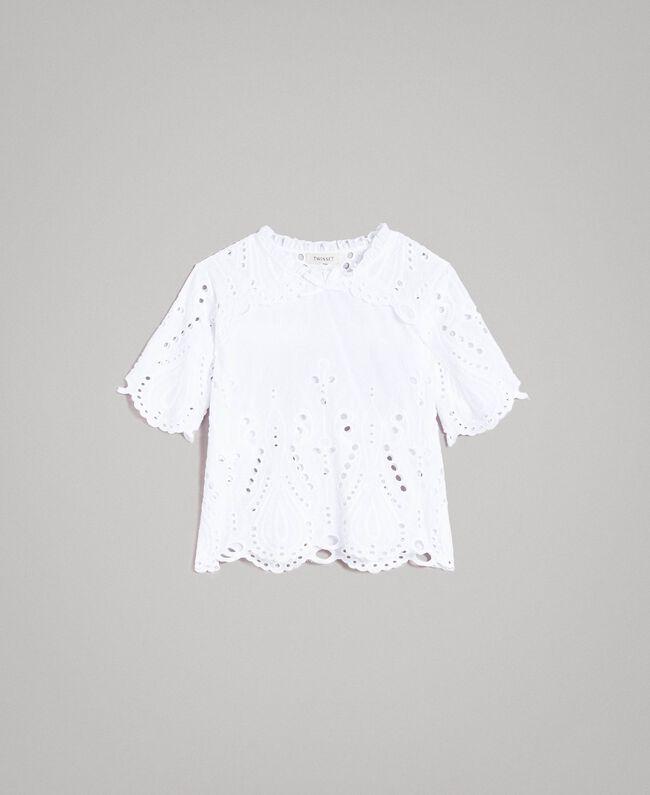 Blouse en mousseline avec broderie anglaise Blanc Enfant 191GJ2622-01
