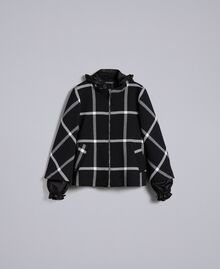 "Short check coat Bicolour Black / ""Snow"" White Check Woman PA826Y-0S"