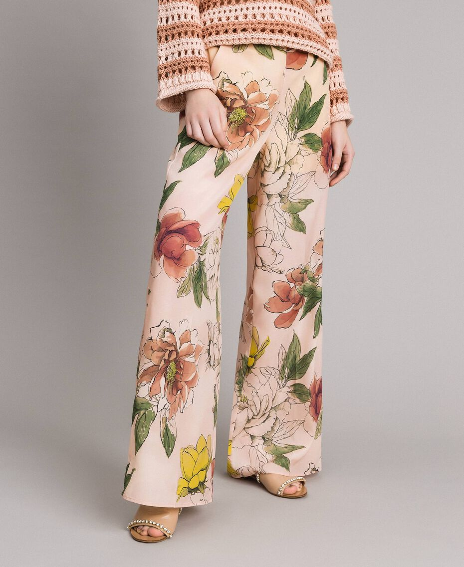 "Floral print crêpe de Chine trousers All Over ""Shell"" Beige Flower Print Woman 191MT2212-02"
