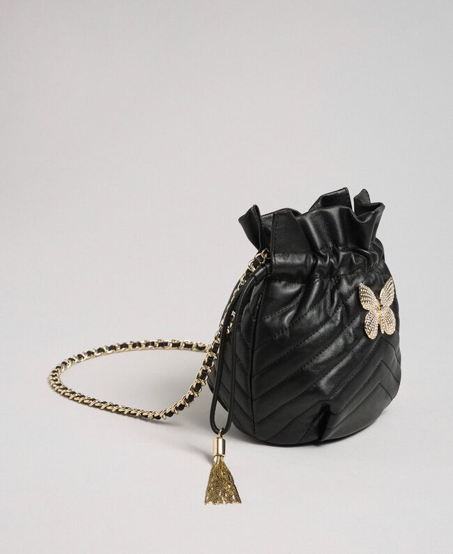 Petit sac seau en cuir matelassé Noir Femme 192TA7105-01