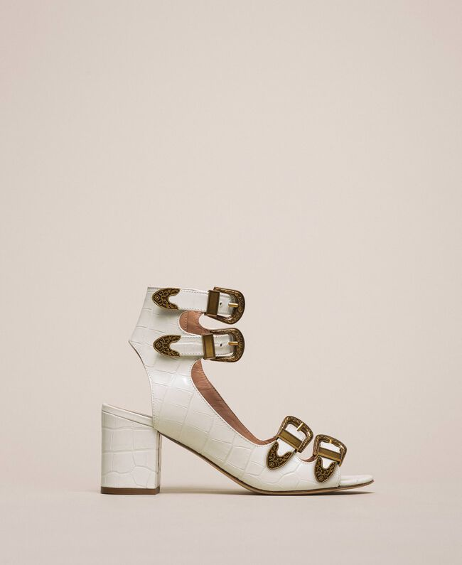 Sandalette aus Leder mit Krokoprägung Print Kroko Schneeweiß Frau 201TCP05E-01