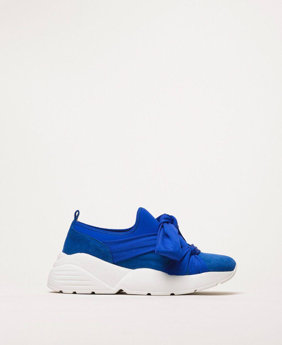 """Textilsneakers mit Knoten """"Hyazinthen""""-Blau Frau 201TCT110-01"""
