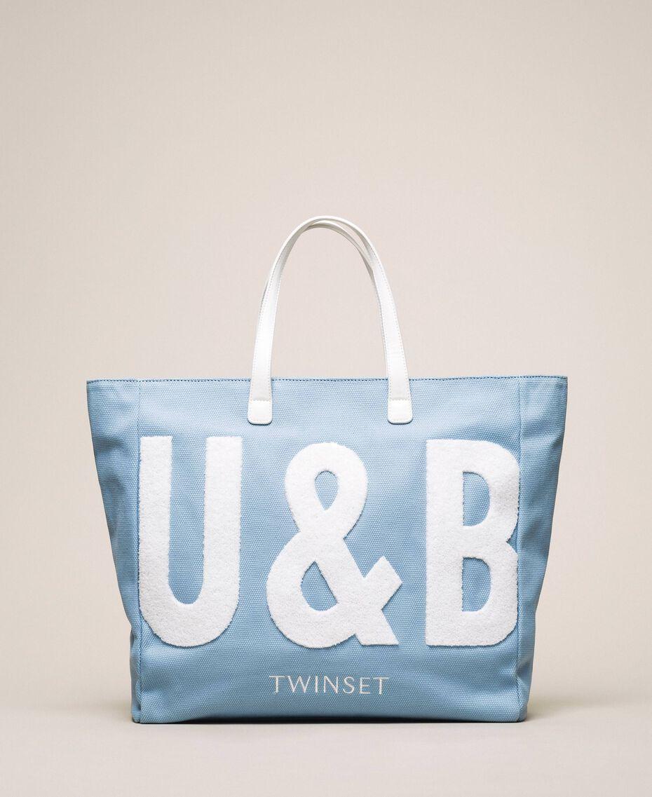 "Borsa mare con logo Blu ""Waterfall"" Donna 201LB79BB-01"
