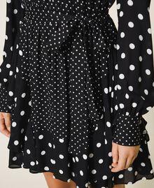 """Polka dot crêpe de Chine dress Black / """"Snow"""" White Polka Dot Patch Woman 202TT2311-04"""