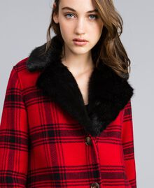 "Checked coat Bicolour ""Poppy"" Red / Black Tartan Woman YA82DQ-04"