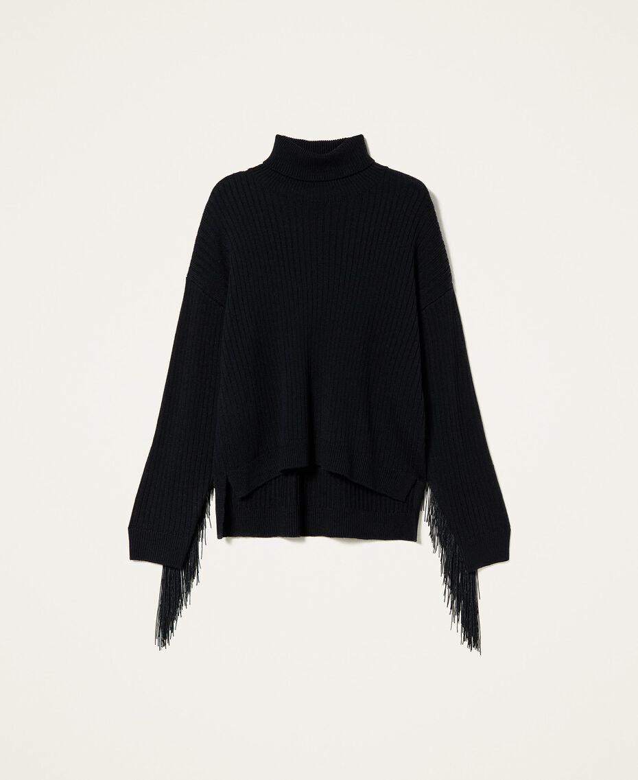 Maglia dolcevita in misto lana con frange Nero Donna 212TP3290-0S
