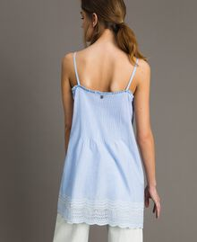 "Voile top with broderie anglaise embroidery Two-tone ""Atmosphere"" Light Blue / Ecru Woman 191ST2110-04"