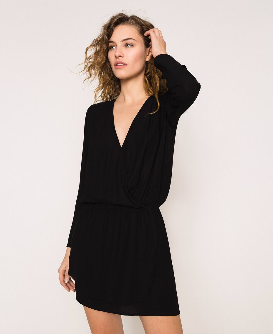 Overlapping crêpe dress Black Woman 201LB25HH-01