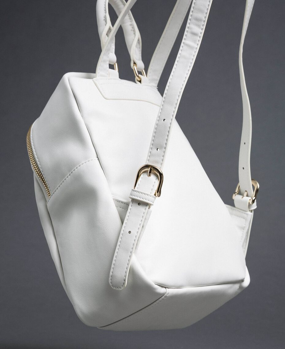 "Faux leather backpack with bands and logo ""Vanilla"" White/ ""Poppy"" Red Woman 192MO8051-02"