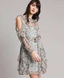 Kleid aus geblümtem Georgette mit Rüschen Motiv Aquamarin Bouquet Frau 191TP2573-01