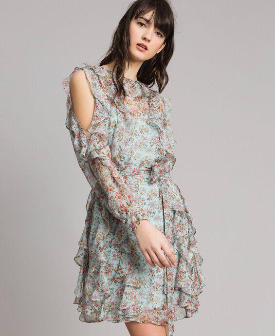 Robe volantée en crêpe georgette floral