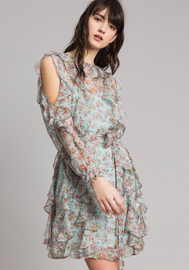 Georgette floral dress with flounces
