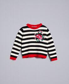 Pull en laine mélangée rayée Bicolore Noir / Blanc Cassé Enfant FA83GA-01