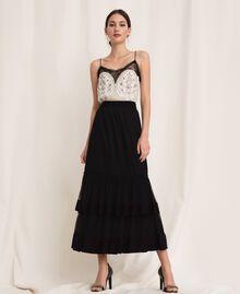 Crêpe de Chine skirt with plumetis tulle Black Woman 201TP2372-02
