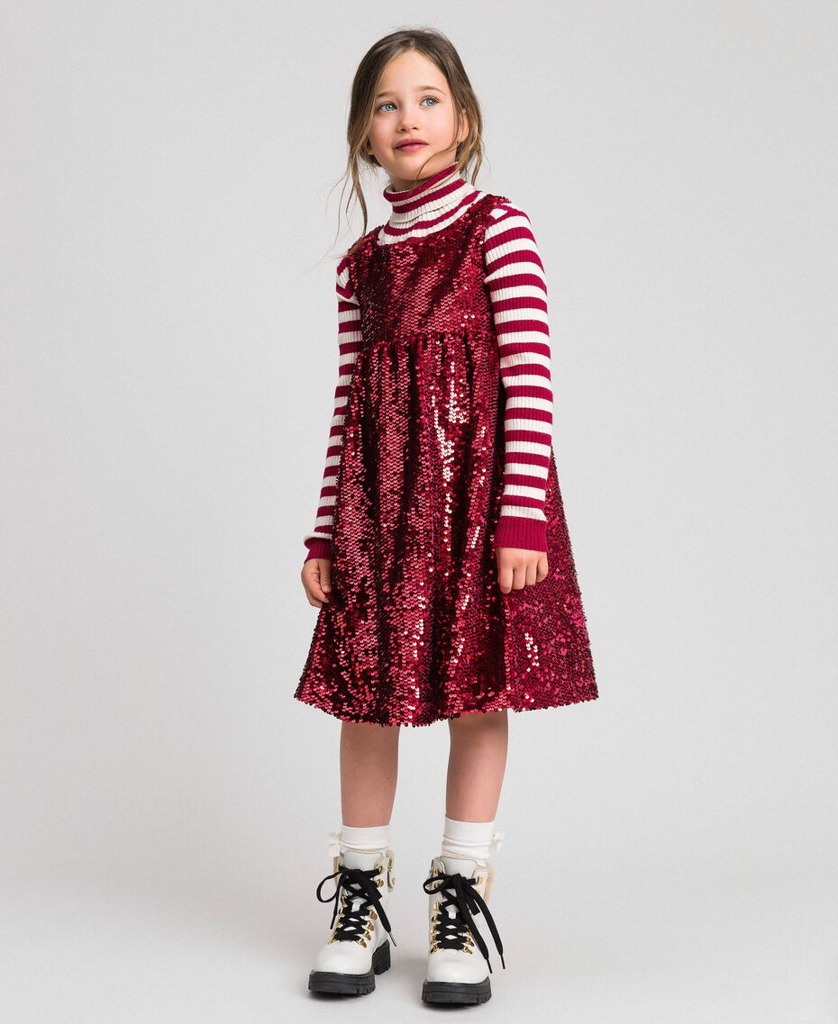 Robe en velours avec sequins Rouge Ruby Wine Enfant 192GJ2091-02